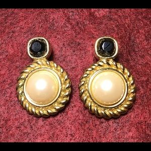 Givenchy Gold Tone Pearl and Stone Clip Earrings
